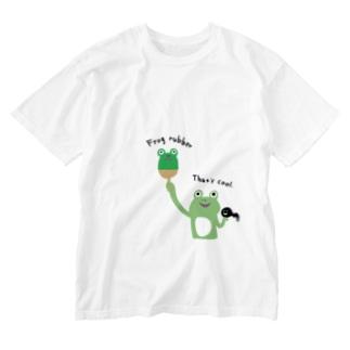 卓球 カエルラバー Washed T-shirts