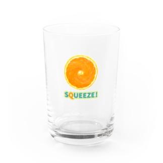 Squeeze!  Orange Water Glass