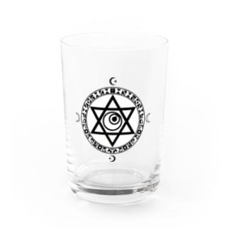 魔法陣×六芒星×目玉 BLACK Water Glass