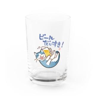 ねこ×はんのビールだいすき!(大) Water Glass