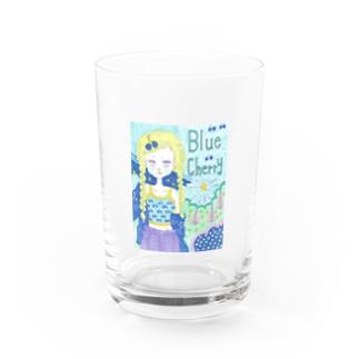 Blue cherry Water Glass