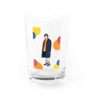 Coat boy (colorful dots) Water Glass