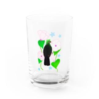 見返り美鳥(ギニアエボシドリ)と花① Water Glass