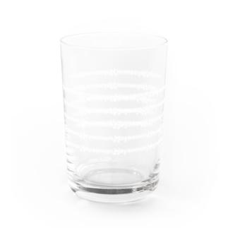 Hayaemon五線譜風ロゴ(白) Water Glass