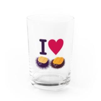 I LOVE ウニ Water Glass