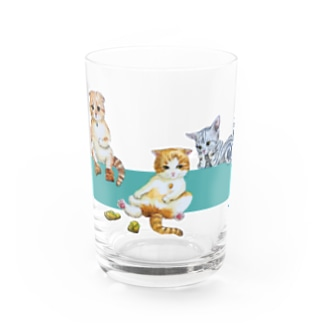 もけけ工房 SUZURI店のIKAPON CATS  Water Glass