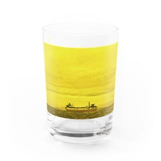 SHIP yellow Water Glass