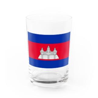 カンボジア国旗 胸ロゴ Water Glass