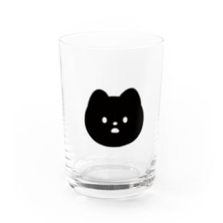 neko face (くろねこ) Water Glass