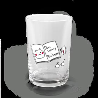 ねこ200%のDon't worry. Be happy! 本×ねこ Water Glass