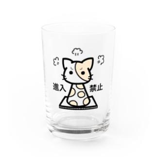 ねこの通せんぼ Water Glass