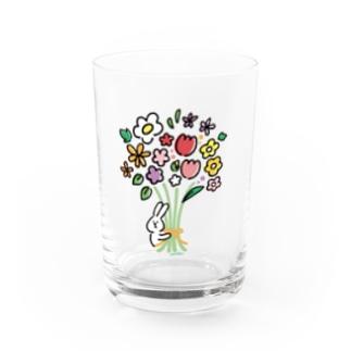 うささんとお花 Water Glass