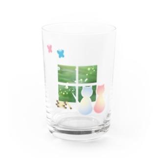 ねこと蝶 Water Glass