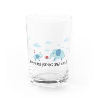 象の親子【あかえほ公式】 Water Glass
