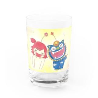 太陽シーサーとキジムナー ちゃん Water Glass