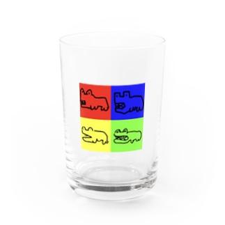 本気で描いたカバ(四角) Water Glass