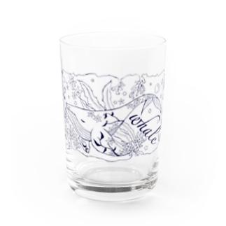 ねむり鯨(線画) Water Glass