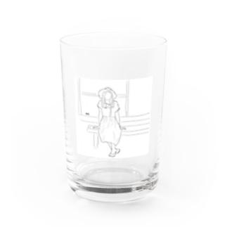 縁側の麦わらガール Water Glass