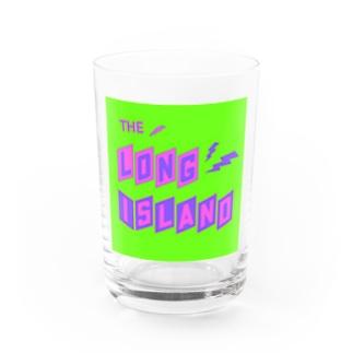 平行四辺形デザイン パープル×ピンク×グリーン Water Glass