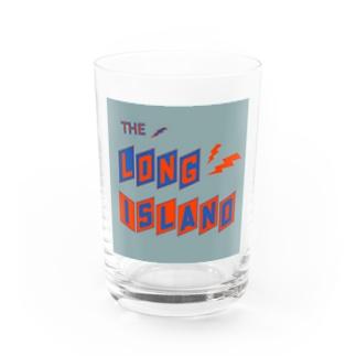 平行四辺形デザイン オレンジ×ネイビー×グレー Water Glass