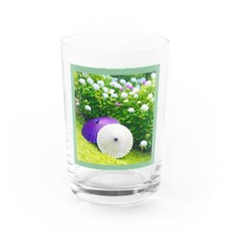 番傘と紫陽花 Water Glass