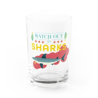 WATCH OUT FOR SHARKS ホワイトバック Water Glass