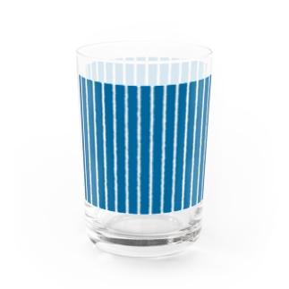 青と白の縦縞 Water Glass
