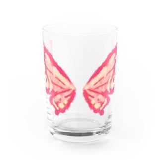 せきね まりのの蝶々の羽(ピンク) Water Glass