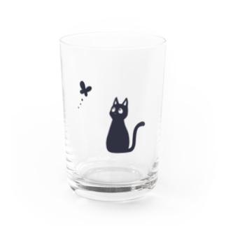 もずくろショップの蝶と黒猫 Water Glass