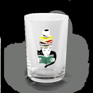 本とコーヒーとネコ グラス