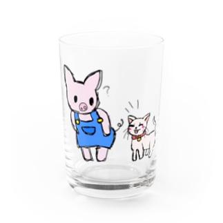 ブタのぶーたとネコのあずき Water Glass
