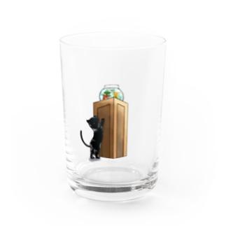 【NO.VO】猫と金魚鉢 黒ver. Water Glass