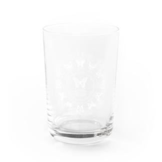 13 butterflies white Water Glass