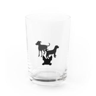 犬のシルエット Water Glass
