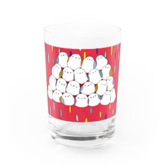 シマエナガさんてんこ盛り Water Glass