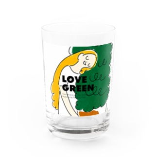 LOVE GREEN with logo Water Glass