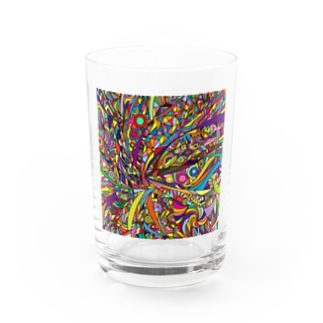 Rainbow explosion_ square Water Glass