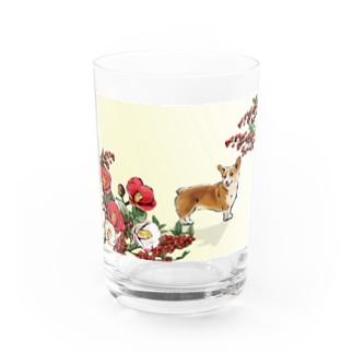 椿と南天とコーギー Water Glass