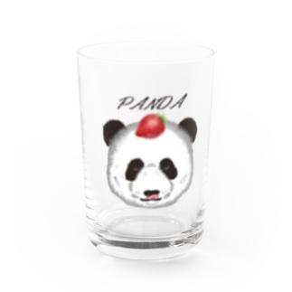 Tanaka Zabieru パンダショップの食いしん坊リアルパンダ苺 Water Glass