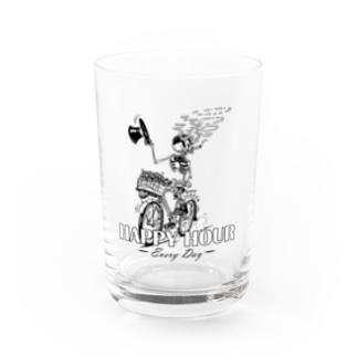 """""""HAPPY HOUR""""(B&W) #1 Water Glass"""