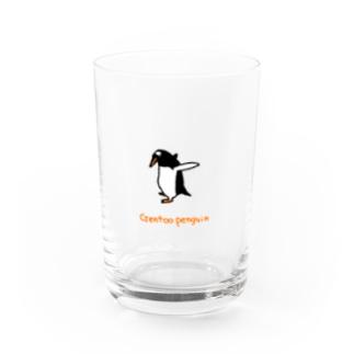 何か見つけたジェンツーペンギン Water Glass