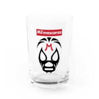 MIL MASCARAS-ミル・マスカラス-赤ボックスロゴ Water Glass