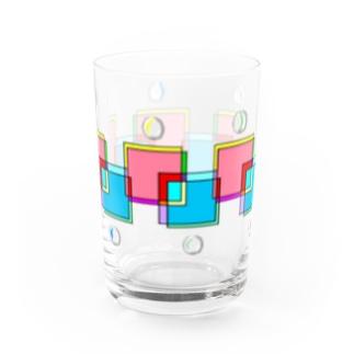 おはじきと透け模様 Water Glass