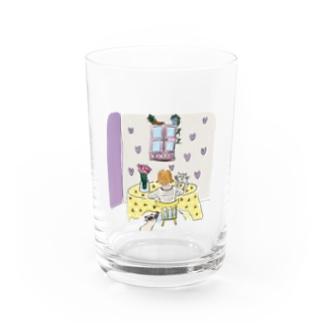 花と猫 Water Glass