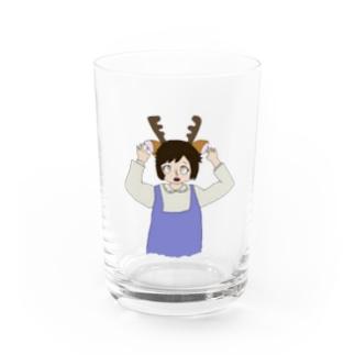 奈良が好き過ぎて鹿になったちゃん Water Glass