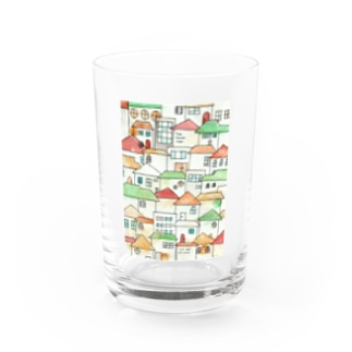 Toy house town. Water Glass
