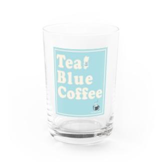 TealBlueCoffee_ロゴ3 Water Glass