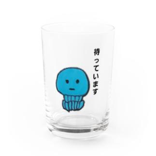 待ちぼうけのブルージュエリーフィッシュちゃん Water Glass