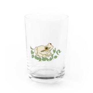 白いカエルと葉っぱ Water Glass