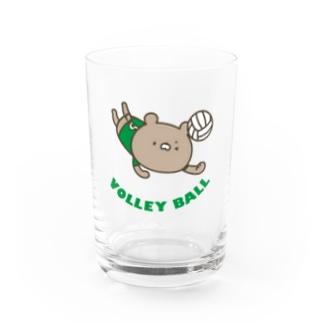 バレーボールくまグリーン Water Glass